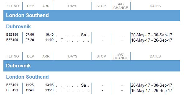 flights to Dubrovnik from London Southend