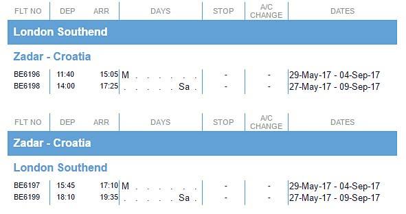 flights to Zadar from London Southend