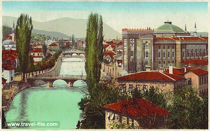 Sarajevo - panorama with Miljacka river