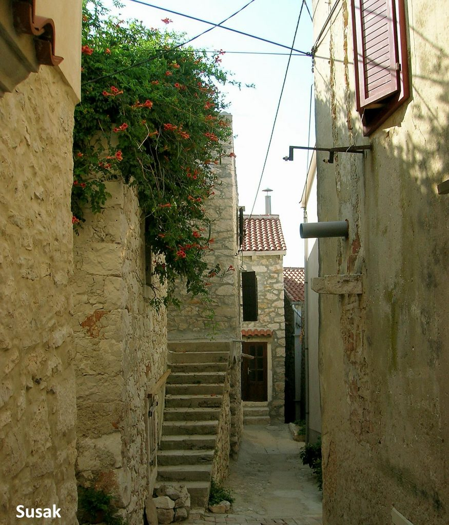 A narrow street in Susak village