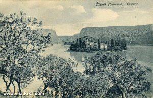 Panorama of Visovac island with views of Monastery (1900s)