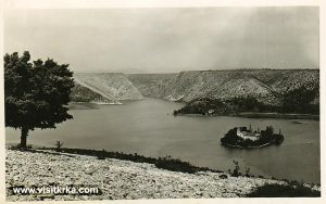 Views over Visovac island with landscape of surrounding Krka river (1960s)